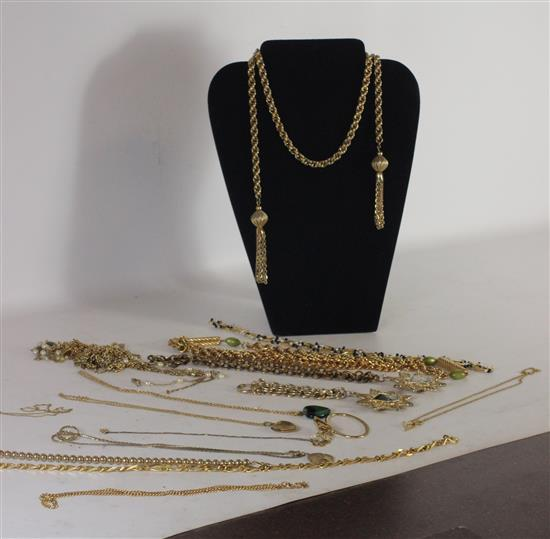 BOX LOT GOLD TONE METAL JEWELRY INCLUDING: APPROX. 15