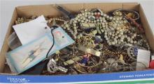 BOX LOT JEWELRY INCLUDING: ASSORTED COSTUME JEWELRY, SILVER TONE WATCHES INCLUDING COLLEZIO AND CARAVELLE, AND THREE PAIR STERLING S...