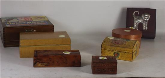 SEVEN ASSORTED JEWELRY BOXES INCLUDING: WOOD GRAIN, SILVER ART DOG, SMALL WITH NATURAL MOTIF, AND VINTAGE ADVERTISEMENT