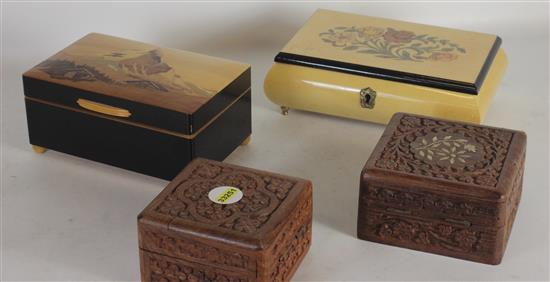 LOT OF FOUR WOODEN JEWELRY BOXES INCLUDING: FOOTED WITH FLORAL MOTIF, MUSIC BOX WITH INSET MOUNTAIN MOTIF, AND TWO SMALL SQUARE WITH...