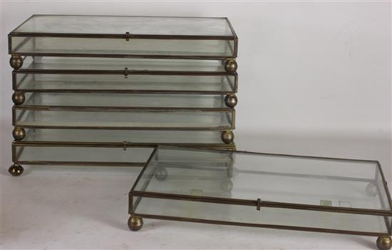 FIVE SHALLOW GLASS AND METAL JEWELRY BOXES MEASURING APPROX. 12