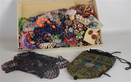 BOX LOT ASSORTED JEWELRY AND ACCESSORIES: COLORFUL BEADED COSTUME JEWELRY WITH EARRINGS, NECKLACES, AND SMALL SEED BEAD PURSES