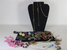 BOX LOT ASSORTED JEWELRY AND ACCESSORIES: COSTUME JEWELRY INCLUDING SYNTHETIC GEMSTONE EARRINGS, NECKLACES, AND BROOCHES