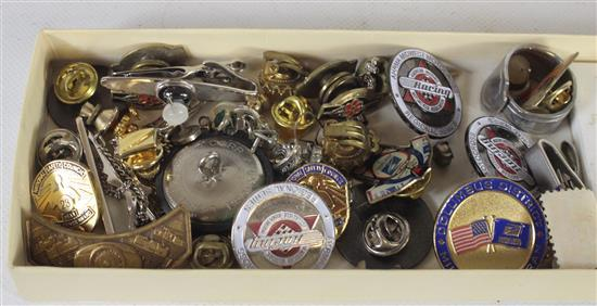 BOX LOT ACCESSORIES INCLUDING: SMALL REPLICA LUNAR PLAQUE, GOLD TONE SOUVENIR PINS, AND WEST GERMAN MADE SNAPBACK BEAD EARRINGS
