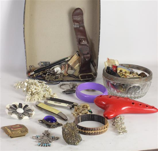 BOX LOT JEWELRY AND ACCESSORIES INCLUDING: RED OCARINA, FOUR POCKET KNIVES, GOLD TONE SOUVENIR PINS, YMCA PATCHES, AND A SWISS ANTIM...
