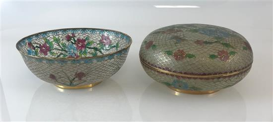 TWO PLIQUE A JOUR PIECES INCLUDING SMALL BOWL AND COVERED BOX