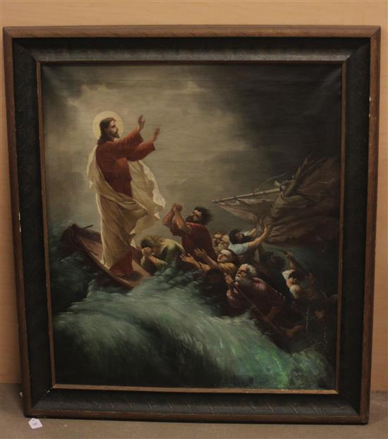 EARLY 20THc OIL ON CANVAS RELIGIOUS SCENE WITH EARLY STRETCHER, SOME WATER DAMAGE APPARENT ON BACK, CANVAS IS BUCKLING AND HAS SOME...