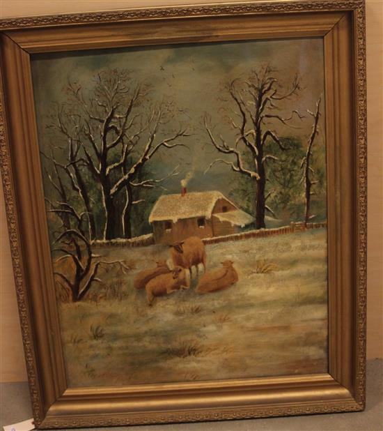 EARLY 20THc OIL ON CANVAS WINTER SCENE WITH SHEEP, UNSIGNED, A. DONALD WRITTEN ON VERSO, SEVERAL SMALL PUNCTURES AND AREAS OF PAINT...