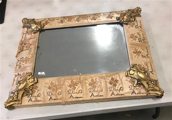 FRENCH MIRROR WITH SILK WRAPPED FRAME (WORN) AND METAL CORNER DECORATION, 18