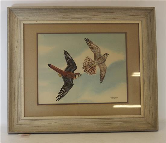 JAMES FENWICK LANSDOWNE (CANADIAN 1937-2008) WATERCOLOR OF BIRDS, SIGNED F. LANSDOWNE, DATED 1953, IMAGE SIZE 11.5