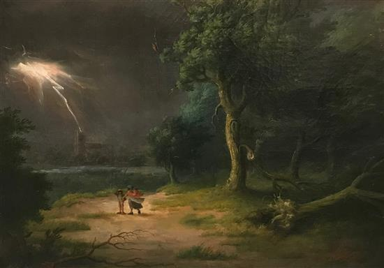GEORGE MORLAND (ENGLISH 1763-1804) OIL ON CANVAS, MOTHER AND CHILD IN THE STORM IN GESSO FRAME SIGNED AND DATED 1797, RELINED, REPAI...