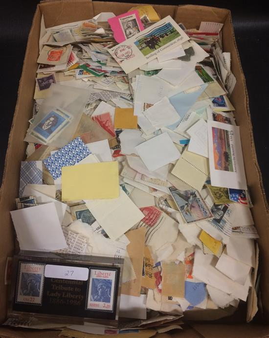 BOX LOT POSTAGE STAMPS, MOSTLY CANCELLED