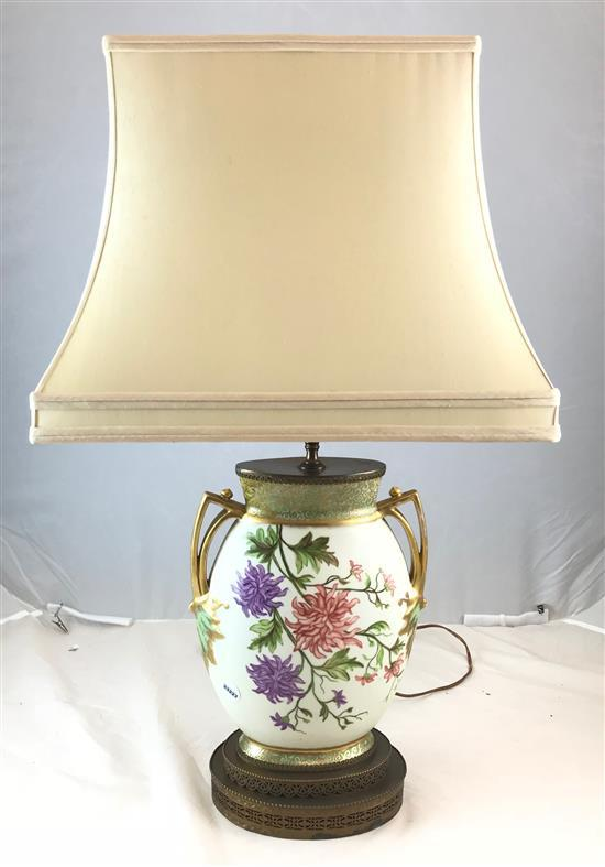 CHINA URN STYLE LAMP WITH PURPLE FLOWER POSSIBLY ROYAL WORCESTER, 33
