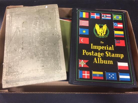BOX LOT VARIOUS U.S. AND FOREIGN STAMP ALBUMS INCLUDING