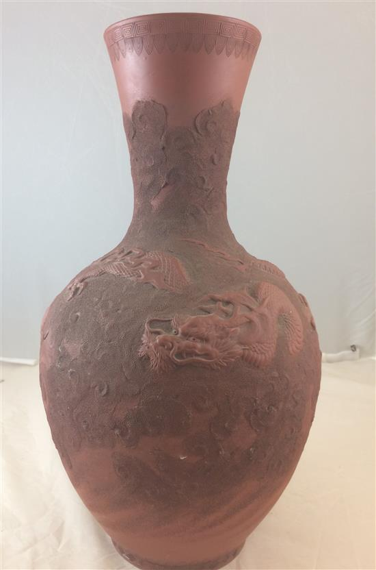 CHINESE TERRACOTTA RED DRAGON MOTIF FLOOR VASE, 22