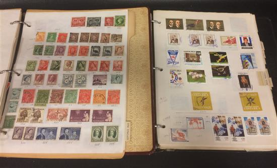 2 POSTAGE STAMP ALBUMS WITH FOREIGN STAMPS