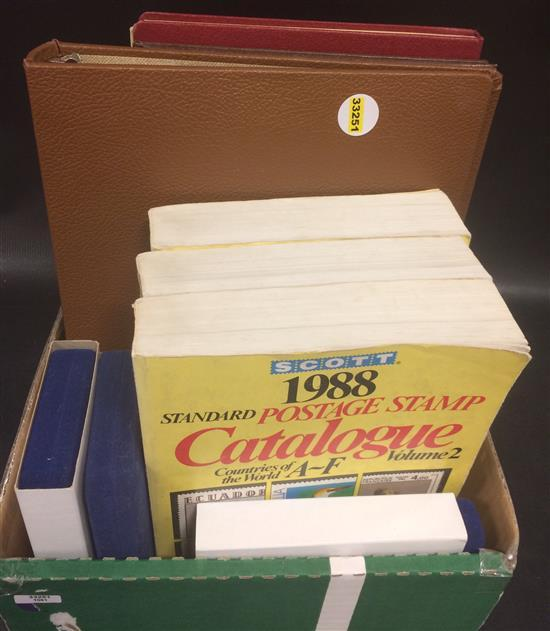 BOX LOT STAMP COLLECTING SUPPLIES INCLUDING CATALOGS AND ALBUMS