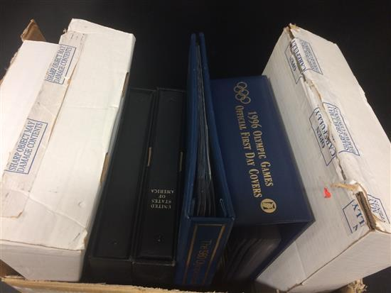 BOX LOT STAMP COLLECTING SUPPLIES INCLUDING BINDERS AND ALBUMS