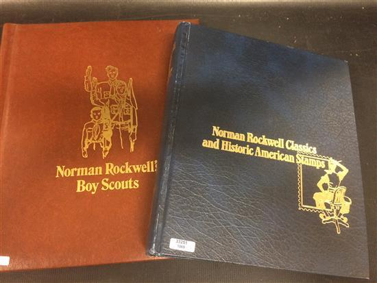 2 NORMAN ROCKWELL STAMP ALBUMS INCLUDING BOY SCOUTS AND NORMAN ROCKWELL CLASSICS/HISTORIC AMERICA