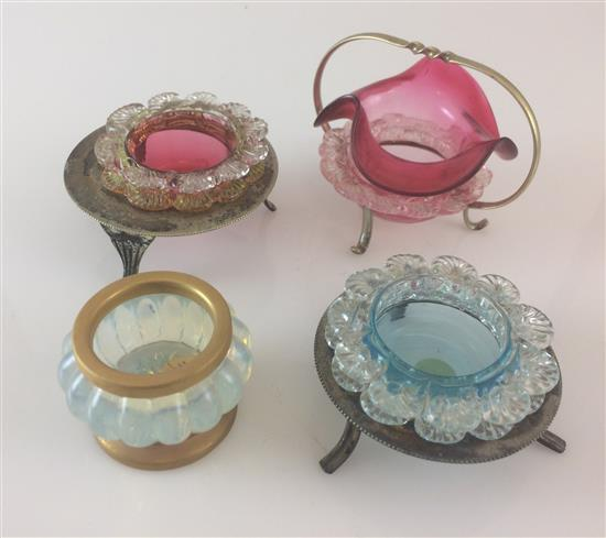 4 COLORED GLASS SALT DIPS, 3 WITH CADDIES