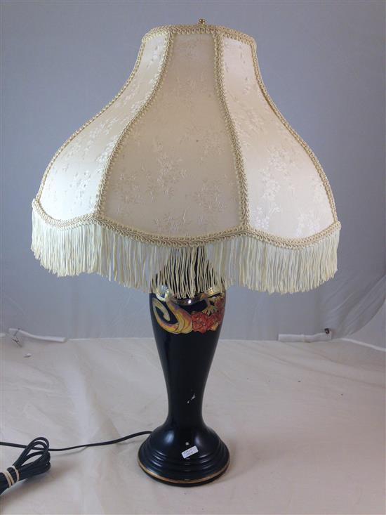 1920s ZANESVILLE POTTERY TABLE LAMP WITH BLACK GLAZE AND GOLD DECOR, 27