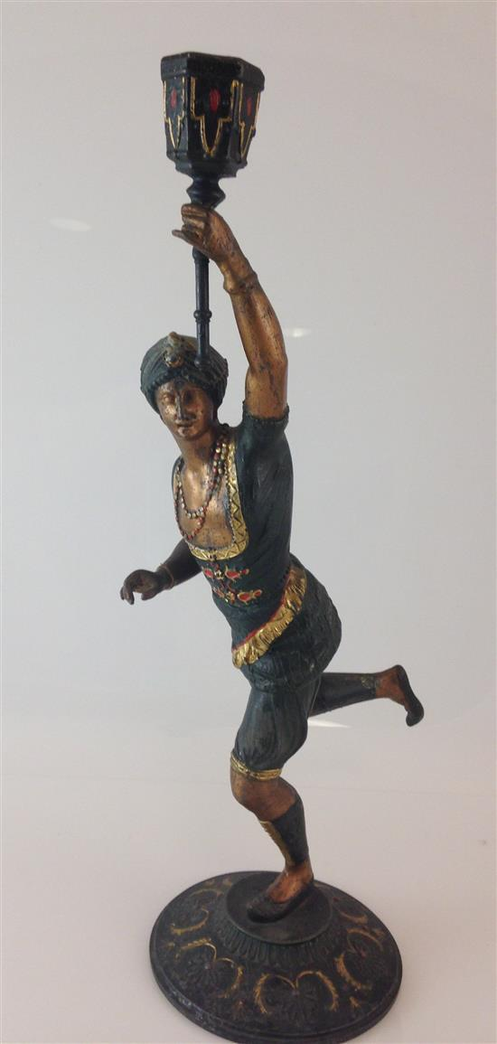PAINTED CAST METAL FIGURAL CANDLE HOLDER, 15.25