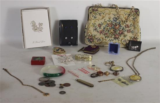BOX LOT ACCESSORIES INCLUDING: SMALL EMBROIDERED PURSE, THANK YOU CARDS, TWO SMALL PILL BOXES, LOOSE CZ STONES, AND A SMALL GOLD TON...