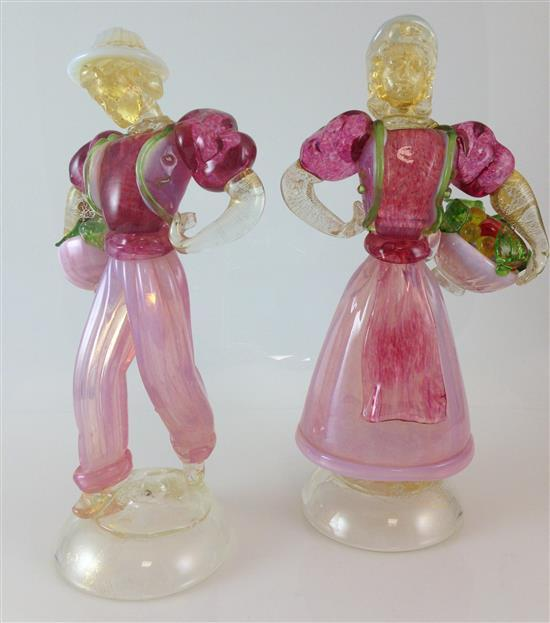 PAIR MURANO GLASS FIGURINES OF MAN AND WOMAN CARRYING FRUIT BASKETS, 10.75