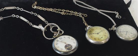THREE SILVER TONE POCKET WATCHES INCLUDING: ELGIN 1.75