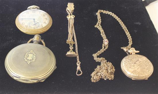 THREE GOLD TONE POCKET WATCHES INCLUDING: ELGIN 1.75