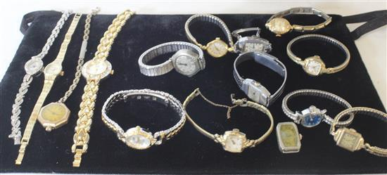 LOT OF 14 ASSORTED WATCHES WITH STYLES FROM: NASSAU, WALTHAM, BILL BLASS, AND PAUL PORTINOUX