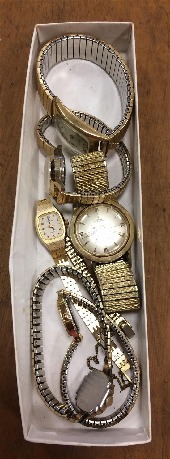 BOX LOT GOLD PLATE AND GOLD FILLED WATCHES INCLUDING STYLES FROM: BULOVA, CROTON, AND HAMILTON