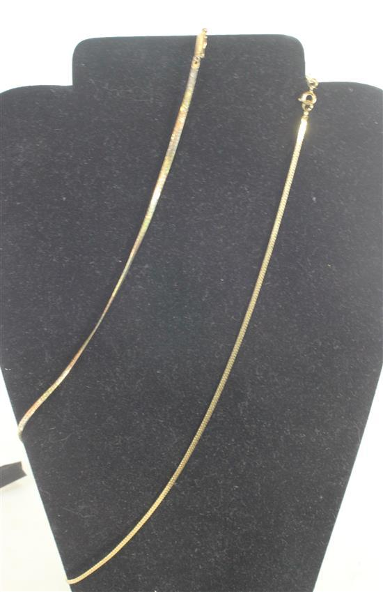 TWO MARKED 14KT GOLD ITALIAN MADE HERRINGBONE NECKLACES. TRI-TONE WITH FOLDOVER CLASP MEASURING APPROX. 18