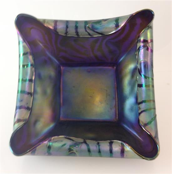 LOETZ GLASS PURPLE WITH GREEN SQUARE BOWL, 8