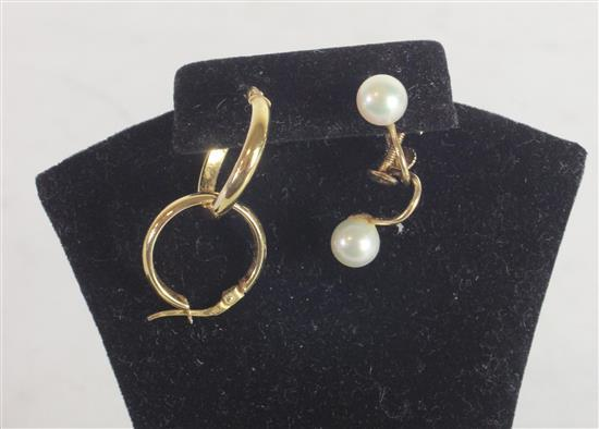 TWO PAIR MARKED 14KT GOLD EARRINGS. ITALIAN MADE POST HOOPS AND SCREWBACK PEARL SOLITAIRES. 3.9 GRAMS TW.