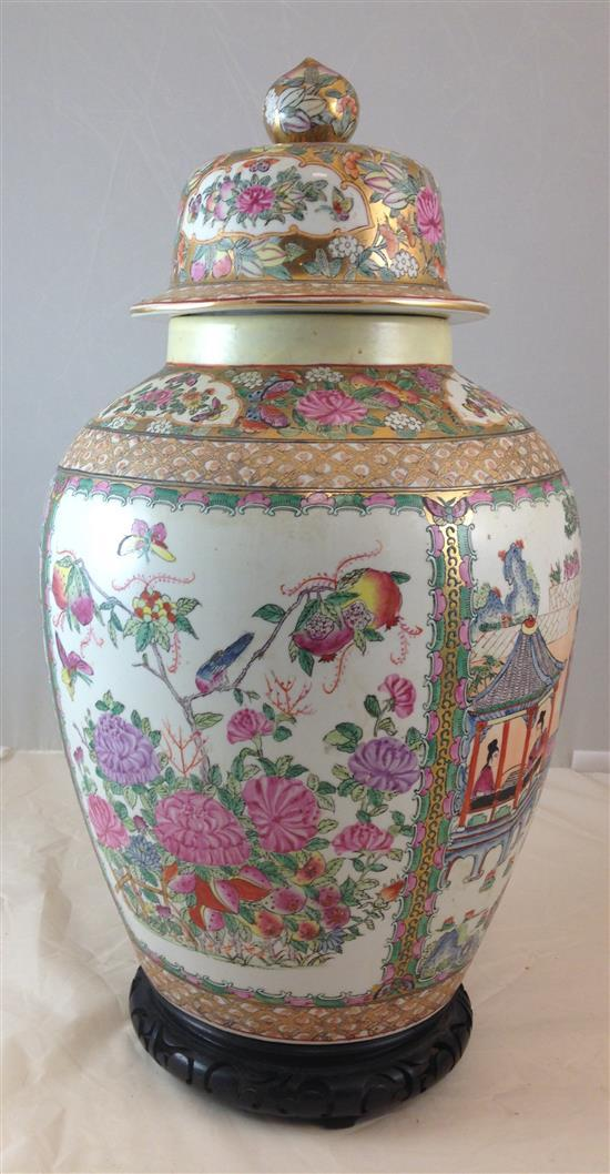 CHINESE GINGER JAR WITH LID AND WOODEN STAND, 24