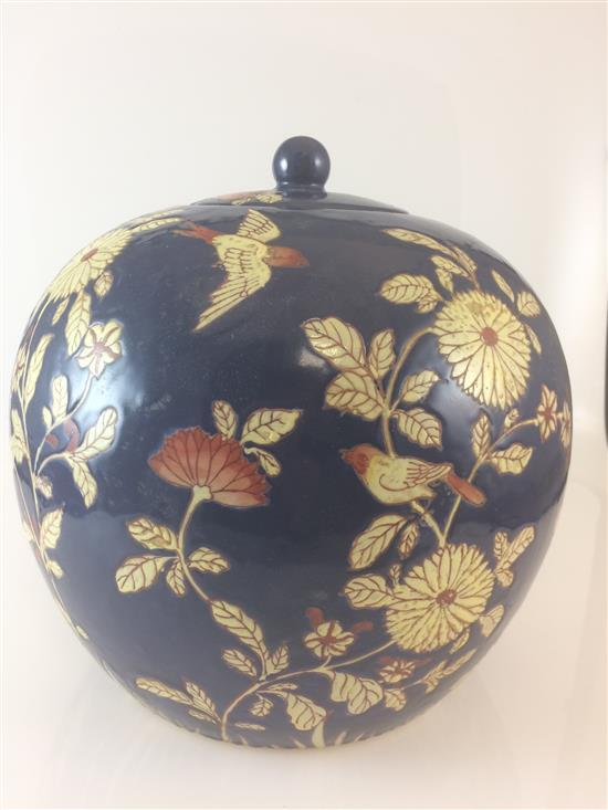 CHINESE DARK BLUE COVERED BALL JAR WITH BIRDS AND FLOWERS, 10