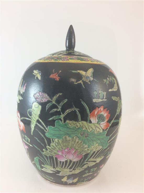 CHINESE CERAMIC COVERED JAR WITH NATURE DECOR ON BLACK BACKGROUND, 11