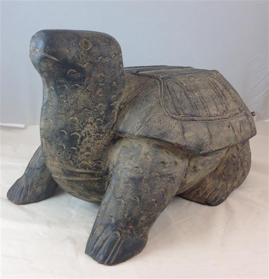 ASIAN CARVED STONE TURTLE, 12.5