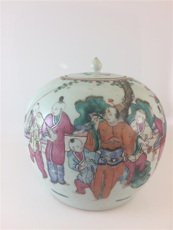 CHINESE PORCELAIN GINGER JAR WITH FIGURAL SCENE, 9