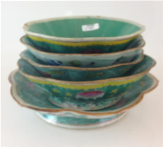 5 CHINESE POTTERY WARE FOOTED BOWLS, 6