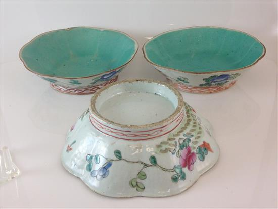 3 CHINESE POTTERY WARE FOOTED BOWLS, 8