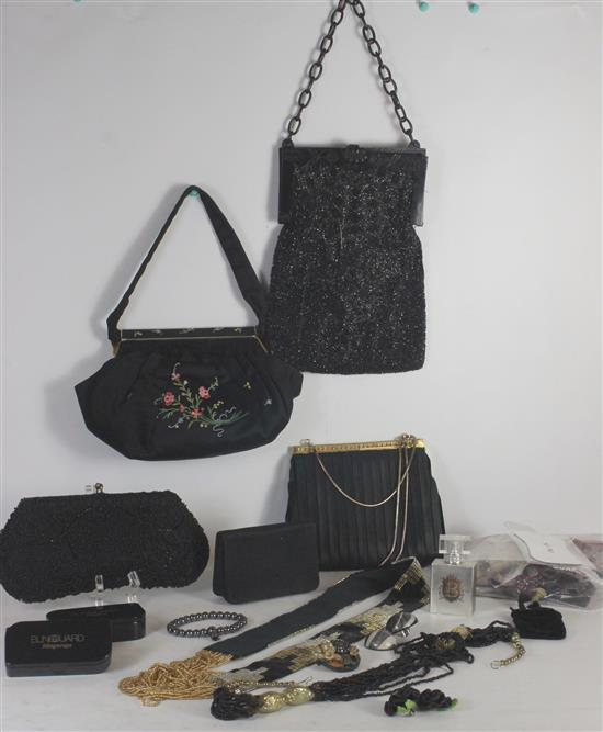 BOX LOT JEWELRY AND ACCESSORIES INCLUDING: LOOSE BEADS, BLACK SEED BEAD PURSE WITH FLORAL MOTIF, BLACK BELGIAN MADE CLUTCH WITH HAND...