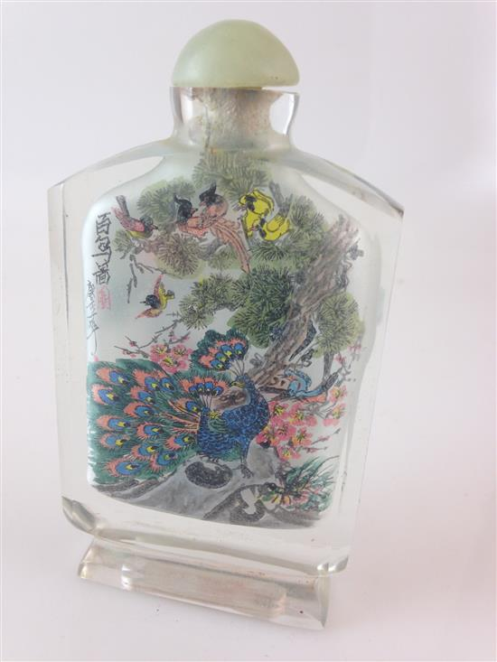 CHINESE INSIDE-PAINTED GLASS SNUFF BOTTLE, 5.25