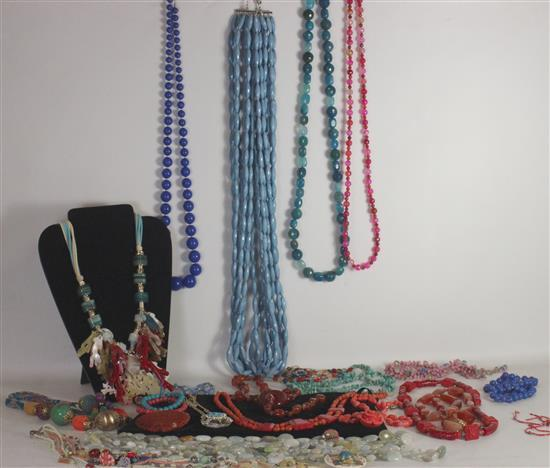 BOX LOT COLORFUL COSTUME JEWELRY INCLUDING: ASSORTED BRIGHT BEAD STRANDS, NAUTICAL THEMED MIXED MATERIALS NECKLACE WITH FAUX CORAL P...