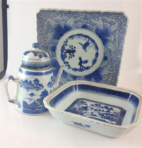 3 PIECES CHINESE BLUE AND WHITE PORCELAIN - 8