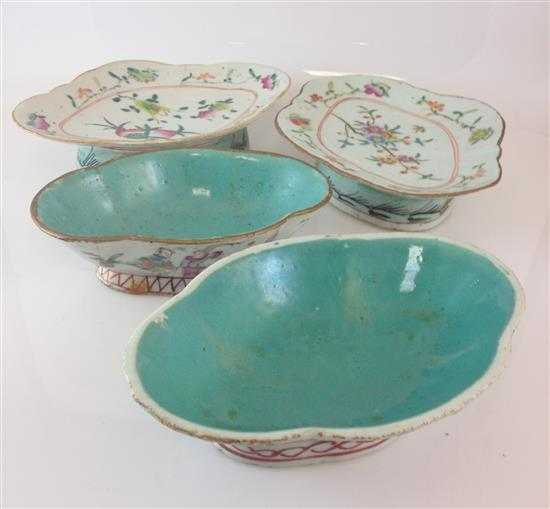 4 CHINESE POTTERY WARE DISHES - 2 BOWLS 7
