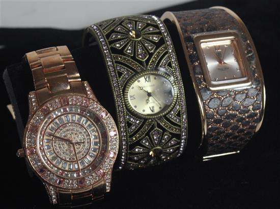 LOT OF THREE DESIGNER WATCHES INCLUDING: VICTORIA WIECK JAPANESE MOVEMENT ROSE GOLD TONE LINK WATCH WITH PAVE SET CLEAR STONE AND PI...