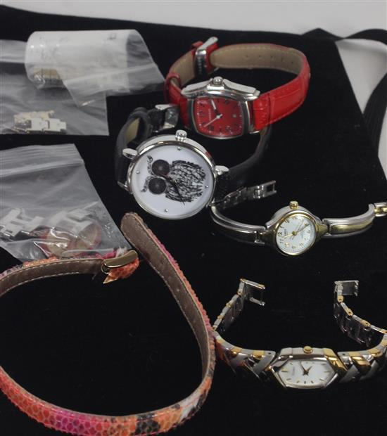 WATCHES AND WATCH PARTS INCLUDING: VERA PELLE PRAGUE WATCH SERIAL #129736, HELBROS SIGNATURE SERIES DUAL TONE, AND A SEIKO DUAL TONE...