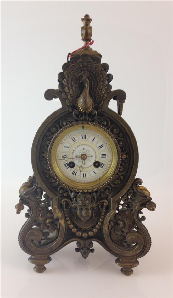 TIFFANY COMPANY ANTIQUE BRASS MANTEL CLOCK SIGNED